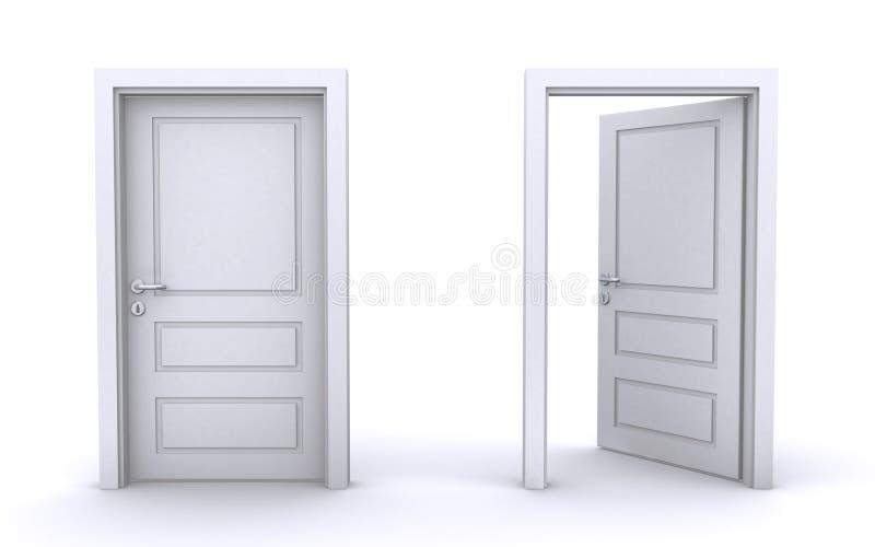 Geöffnete und geschlossene Türen lizenzfreie abbildung