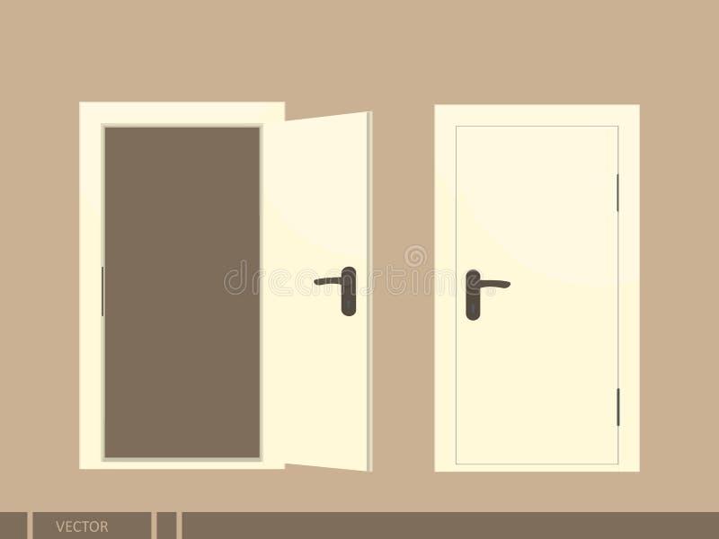 Geöffnete und geschlossene Türen Getrennte Abbildung lizenzfreie abbildung