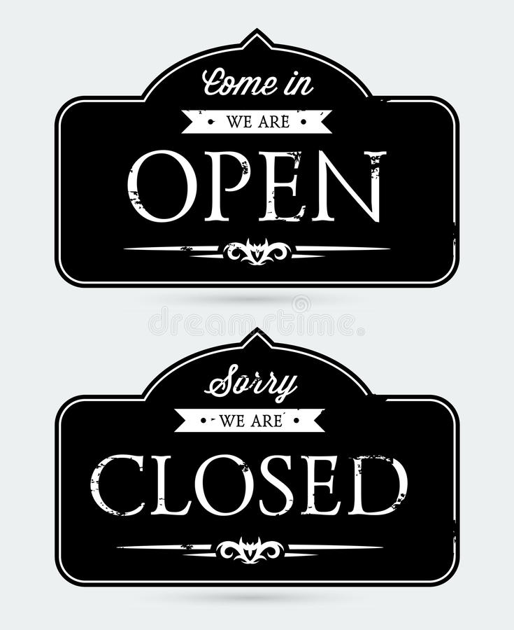 Geöffnete und geschlossene Zeichen stock abbildung