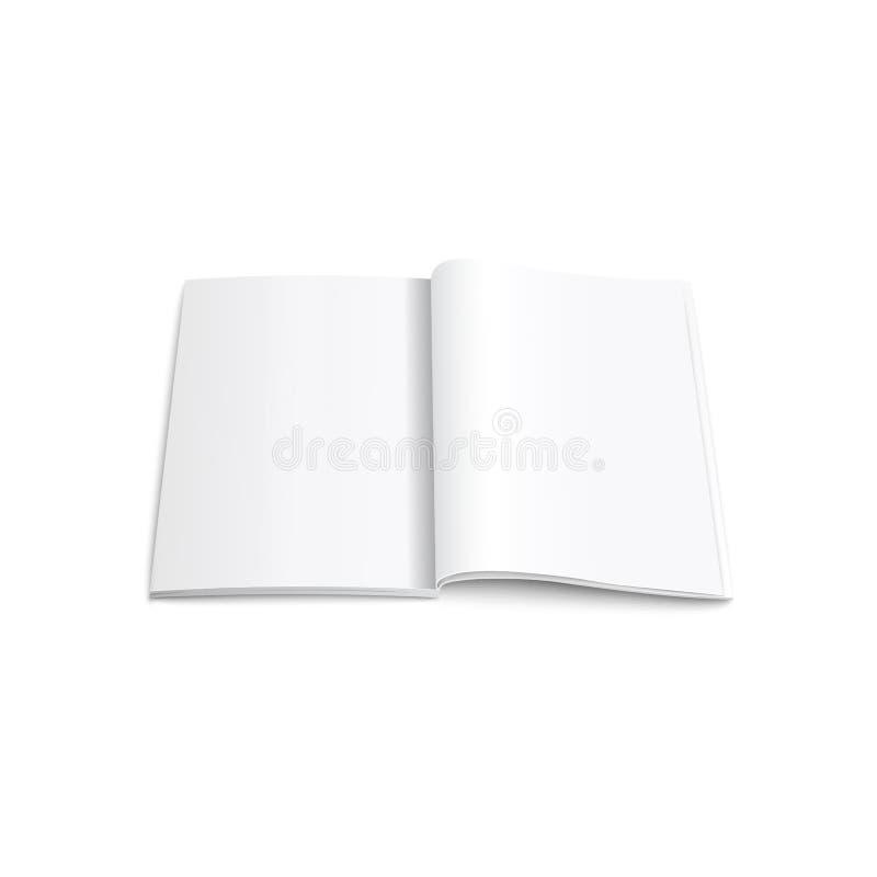 Geöffnete vertikale Modellvektorillustration der Zeitschrift, der Broschüre oder des Notizbuches realistische lizenzfreie abbildung