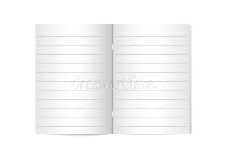 Geöffnete vertikale Zeitschrift mit metallischer silberner Klammern- und Linien-, Broschüren- oder Notizbuchschablone auf weißem  lizenzfreie abbildung