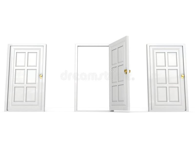 Geöffnete weiße Tür in der Reihe andere geschlossene Türen stock abbildung