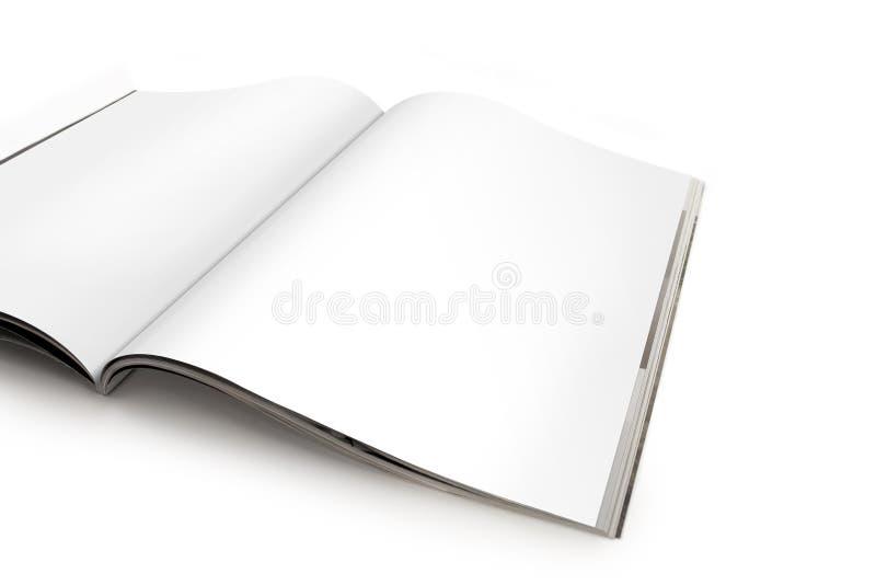 Geöffnete Zeitschrift ausgebreitet mit Leerseiten stockbilder