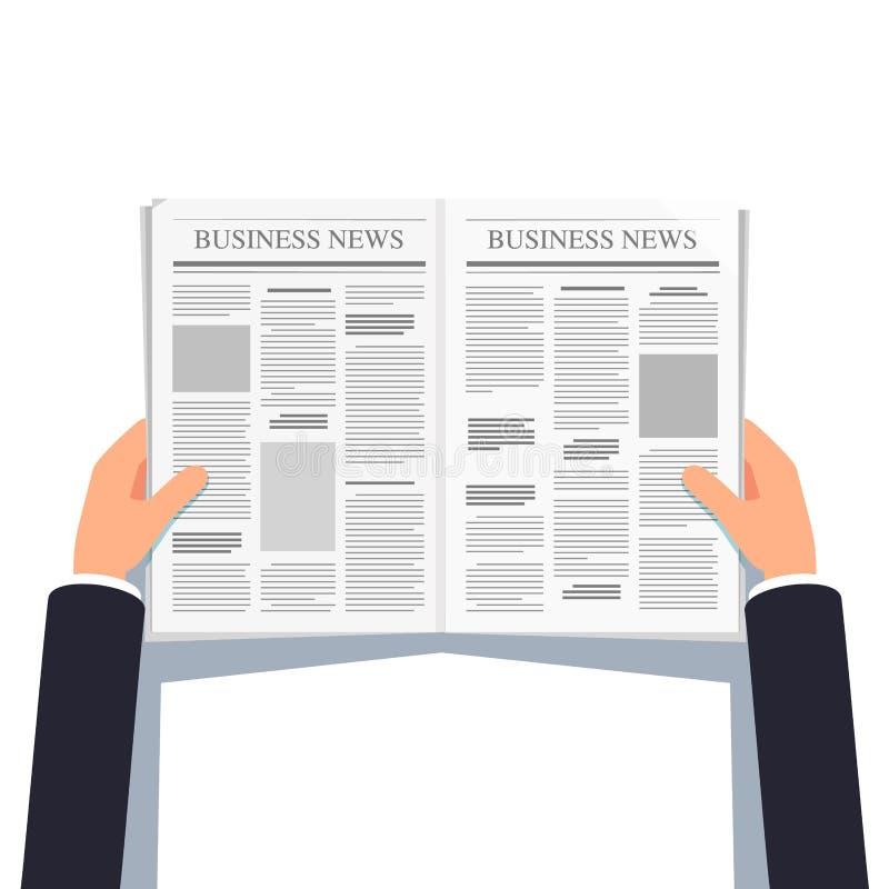 Geöffnete Zeitung in den Geschäftsmannhänden lizenzfreie abbildung