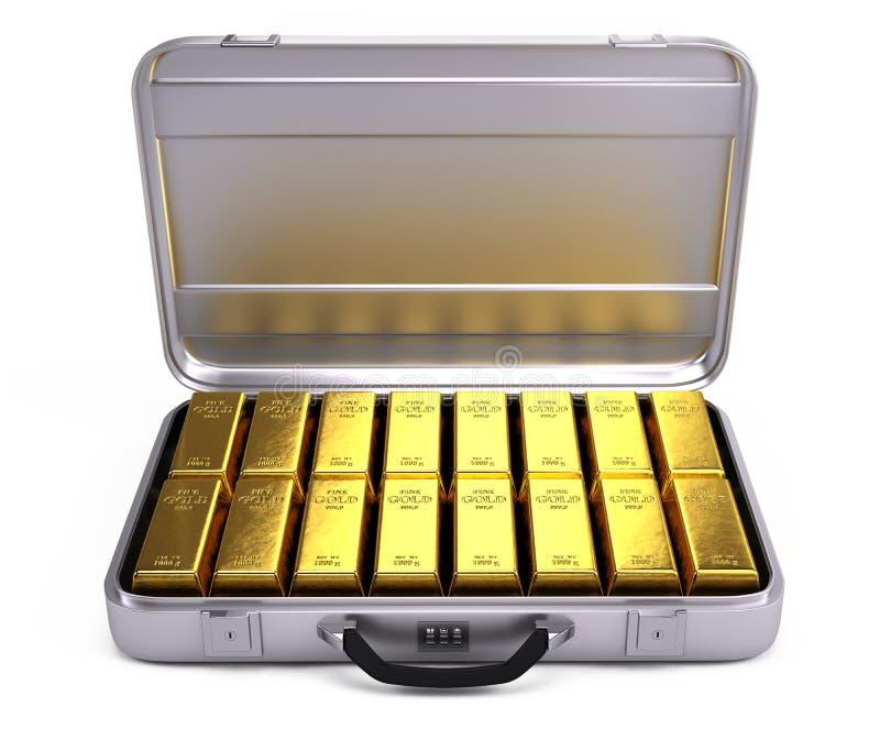 Geöffneter Fall mit Goldbarren lizenzfreie abbildung