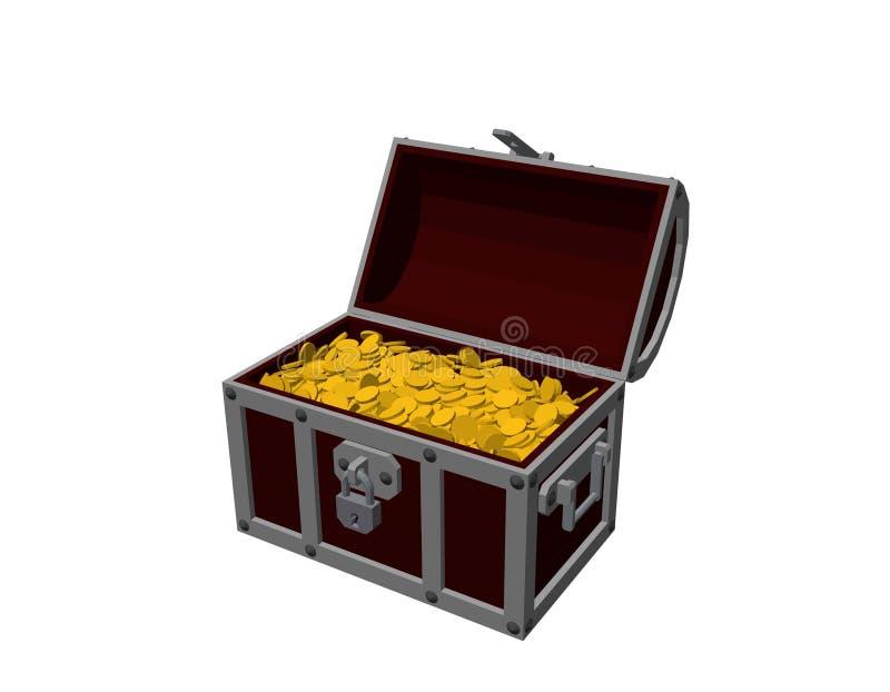 Geöffneter hölzerner Kasten mit goldenen Münzen Lokalisiert auf weißem backgro stock abbildung