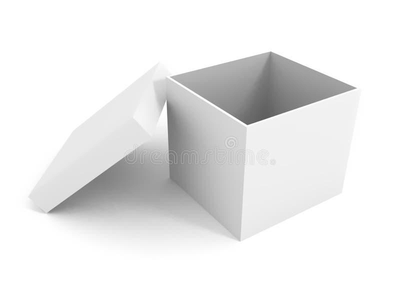 Geöffneter Kasten des weißen Leerzeichens über weißem Hintergrund lizenzfreie abbildung