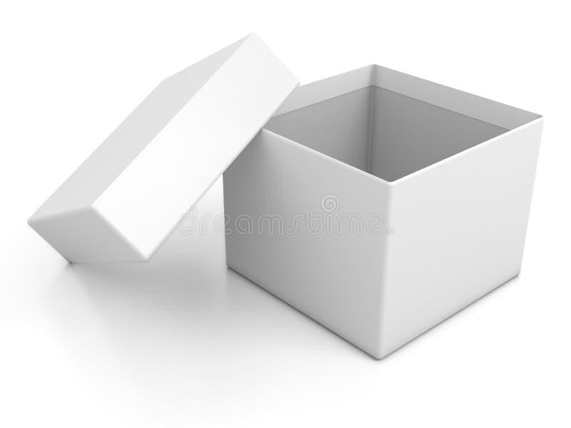 Geöffneter Kasten des weißen Leerzeichens getrennt vektor abbildung