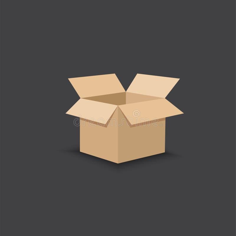 Geöffneter Papppaketkasten Flache Designart Auch im corel abgehobenen Betrag stockfotos