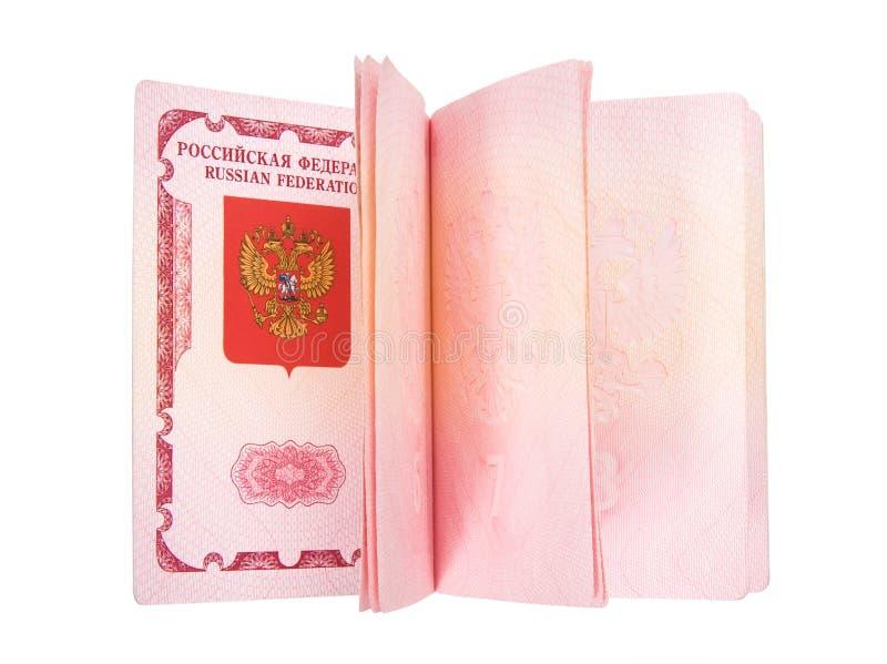 Geöffneter russischer Paß stockbilder