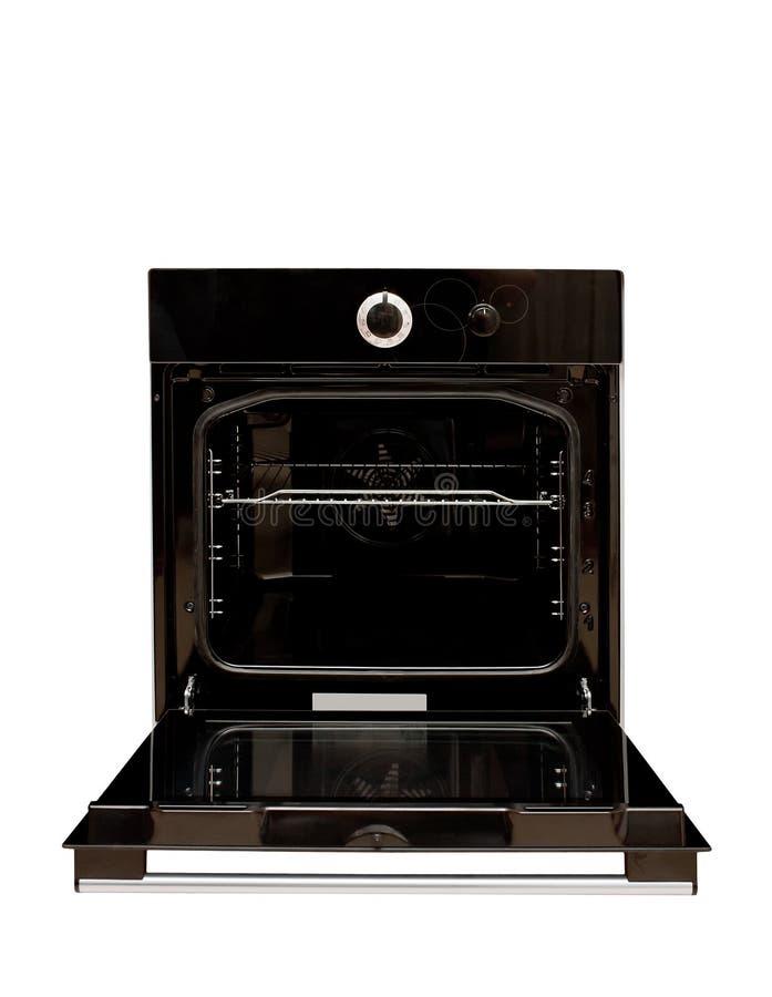 Geöffneter schwarzer Ofen stockbilder