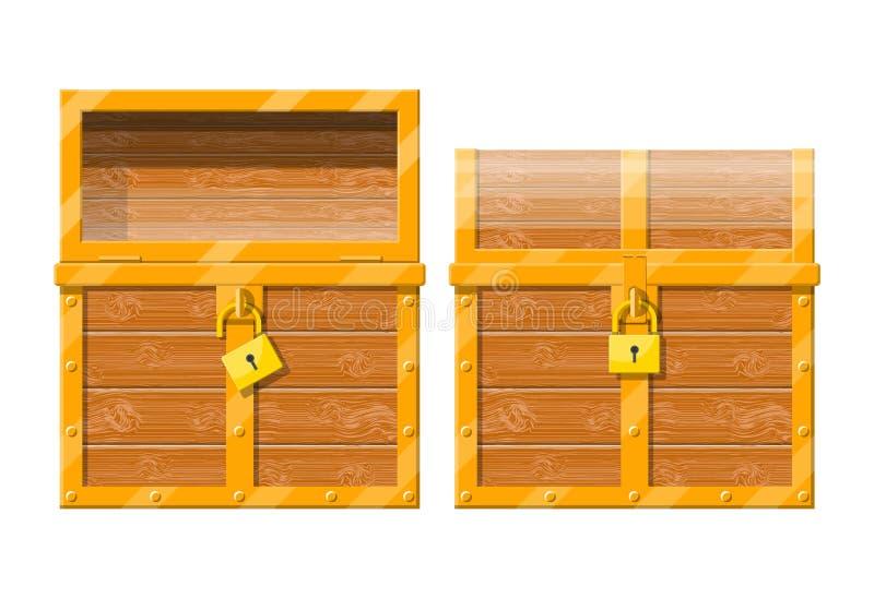 Geöffneter und geschlossener Kasten mit Vorhängeschloß stock abbildung