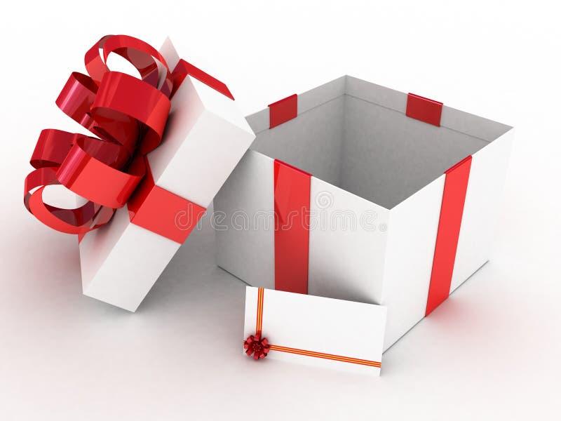 Geöffneter weißer Kasten des Geschenks lizenzfreie abbildung