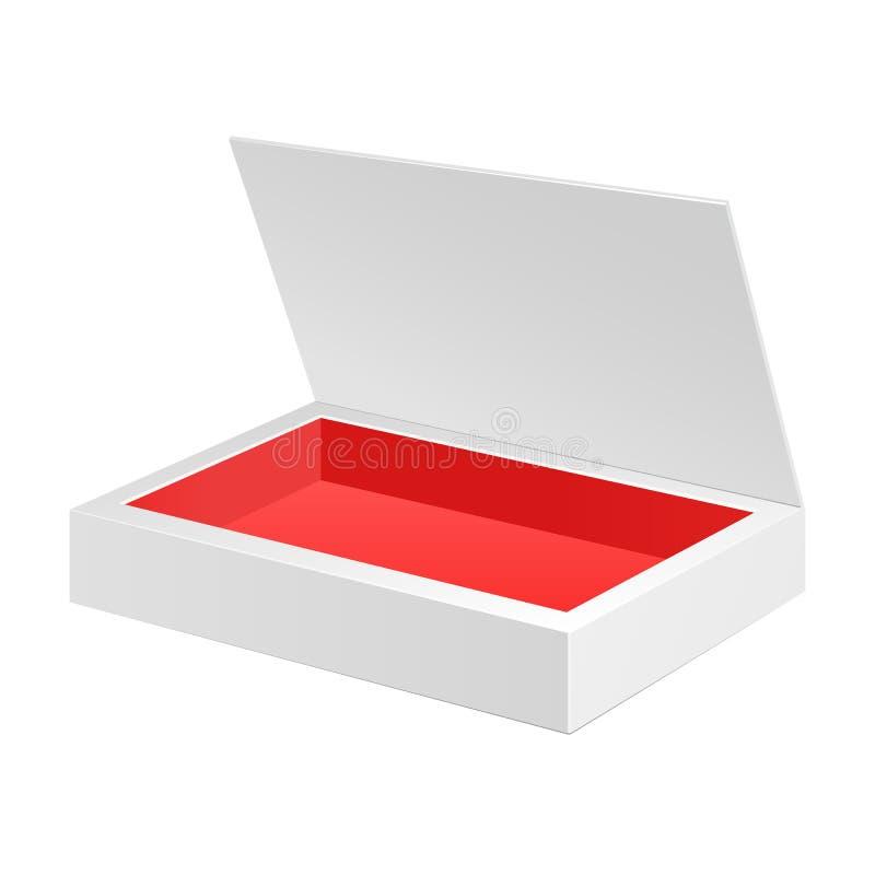 Geöffneter weißer roter Papppaket-Kasten Geschenk-Süßigkeit Auf dem weißen Hintergrund lokalisiert Bereiten Sie für Ihre Auslegun vektor abbildung