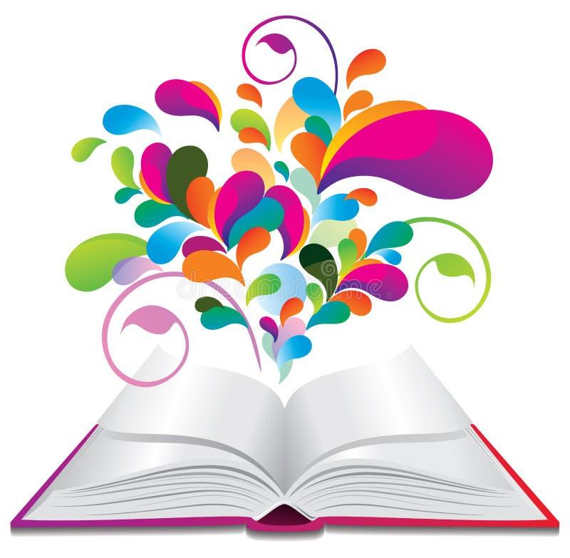 Geöffnetes Buch mit Farbenspritzen. stock abbildung