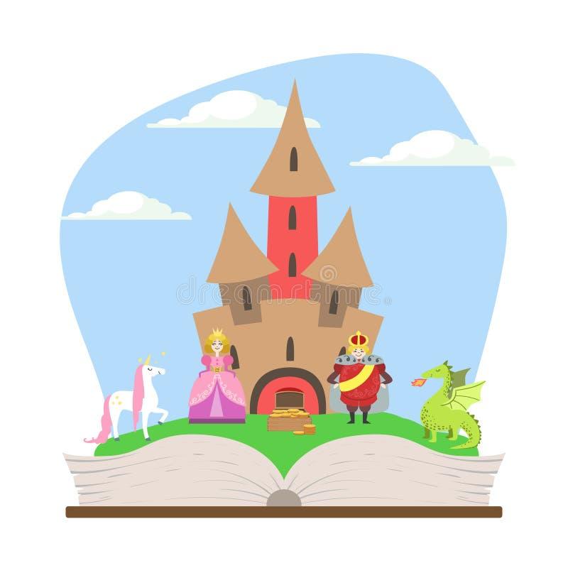 Geöffnetes Buch mit magischem Märchen-Schloss, Prinzen, Prinzessin, Einhorn und Dragon Vector Illustration lizenzfreie abbildung