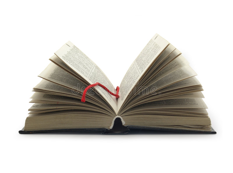 Geöffnetes Buch mit rotem Bookmark stockbilder