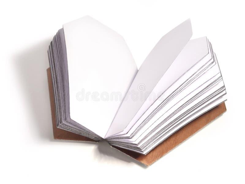 Geöffnetes Buch mit Seiten in der Sargform stockfoto