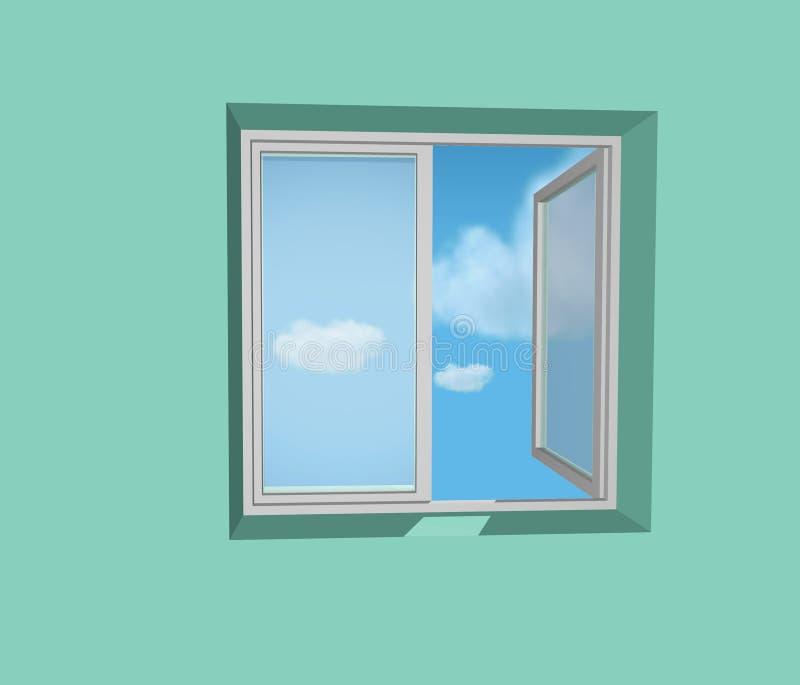 Geöffnetes Fenster in der grünen Wand vektor abbildung