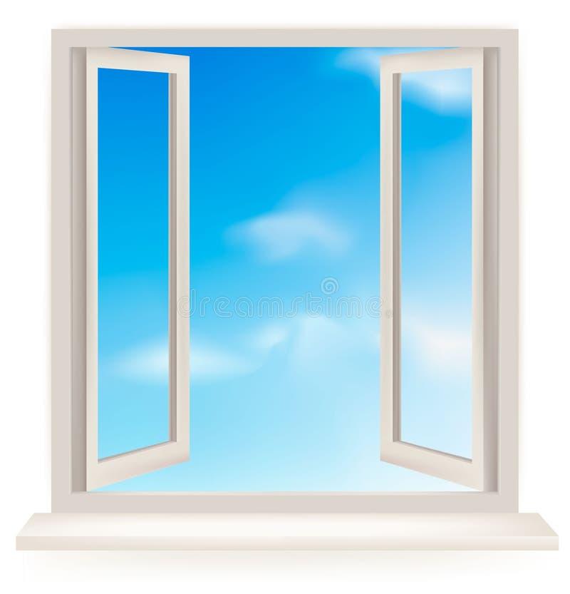 Geöffnetes Fenster gegen eine weiße Wand und den Himmel lizenzfreie abbildung