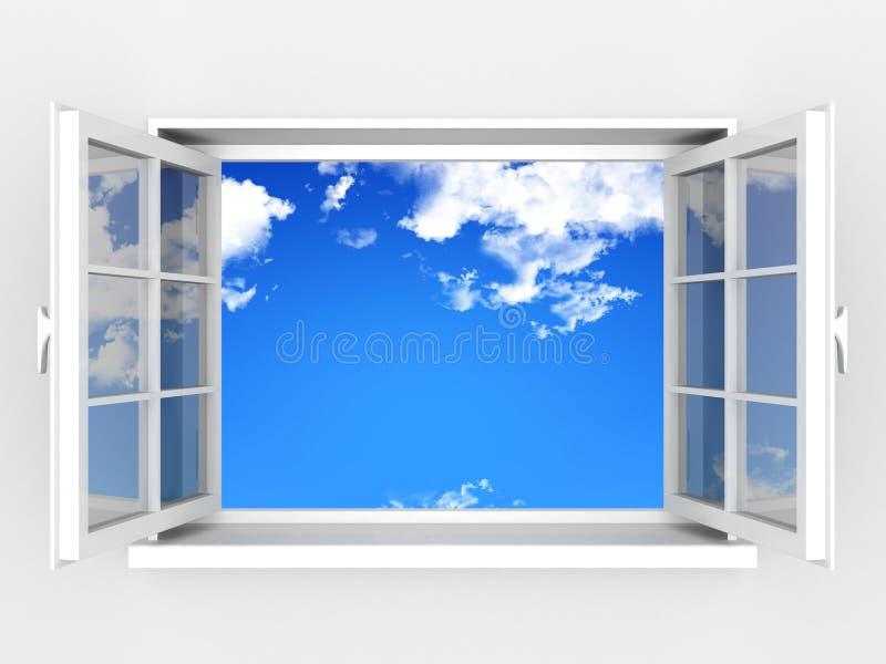 Geöffnetes Fenster gegen eine weiße Wand und einen bewölkten Himmel stock abbildung