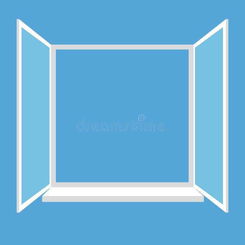 Geöffnetes Fenster lokalisiert auf blauem Hintergrund lizenzfreie abbildung