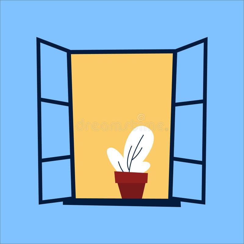 Geöffnetes Fenster mit Kaktus auf der blauen Wand vektor abbildung