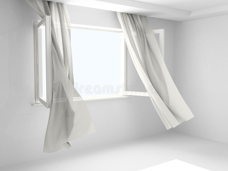 Geöffnetes Fenster mit Trennvorhängen vektor abbildung