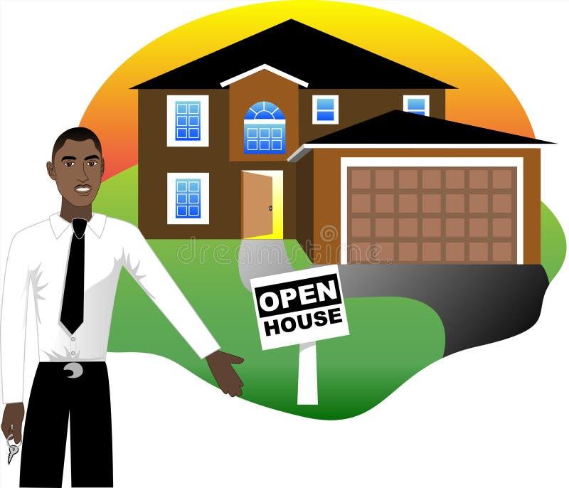 Geöffnetes Haus mit Mittel stock abbildung