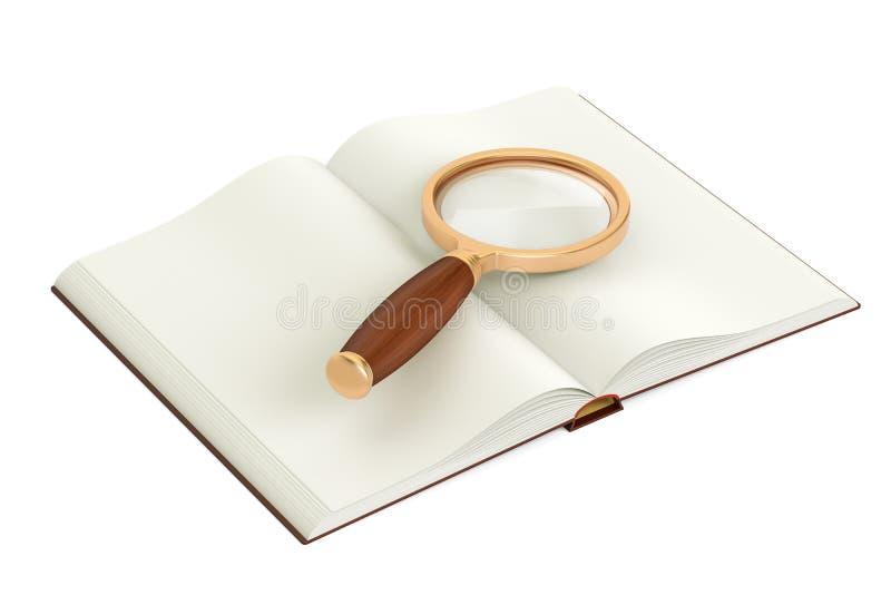 Geöffnetes leeres Buch mit Vergrößerungsglas, Wiedergabe 3D vektor abbildung