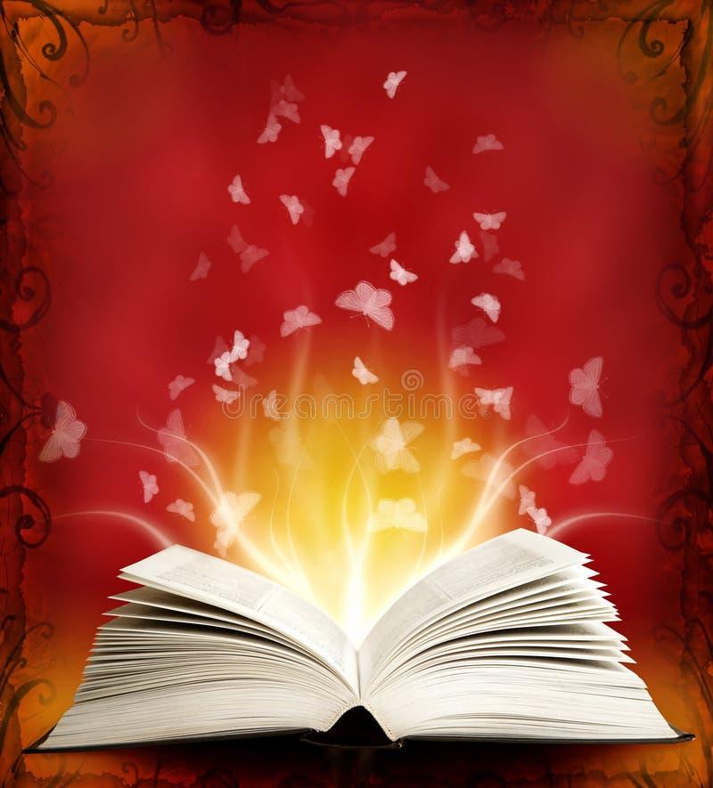 Geöffnetes magisches Buch mit magischer Leuchte und Basisrecheneinheit vektor abbildung