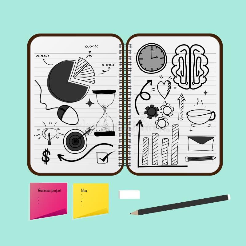 Geöffnetes Notizbuch mit Geschäfts-Projekt-Zeichnungen stock abbildung