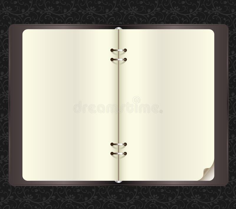 Geöffnetes Notizbuch mit Papierklammern im Vektor stock abbildung