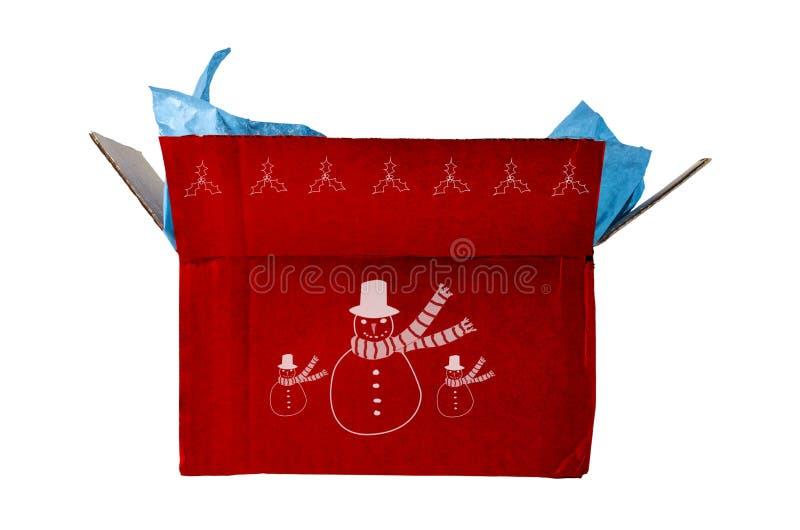 Geöffnetes rotes Weihnachtsgeschenk stockbild