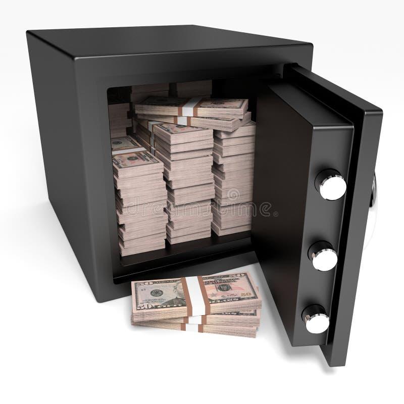 Geöffnetes Safe mit Banknoten Fünfzig Dollar stock abbildung