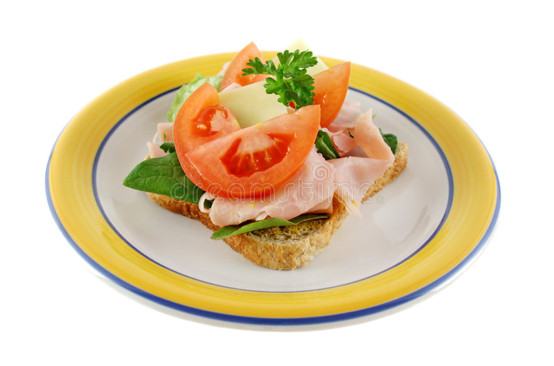Geöffnetes Sandwich 1 lizenzfreie stockbilder
