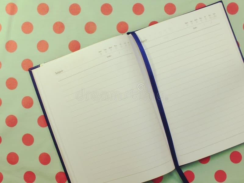 Geöffnetes Seitennotizbuch des leeren Papiers gemasert stockfotos