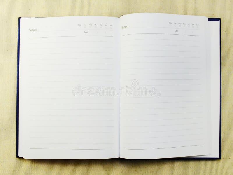 Geöffnetes Seitennotizbuch des leeren Papiers gemasert lizenzfreie stockfotografie