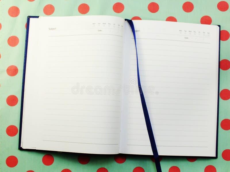 Geöffnetes Seitennotizbuch des leeren Papiers gemasert lizenzfreies stockfoto