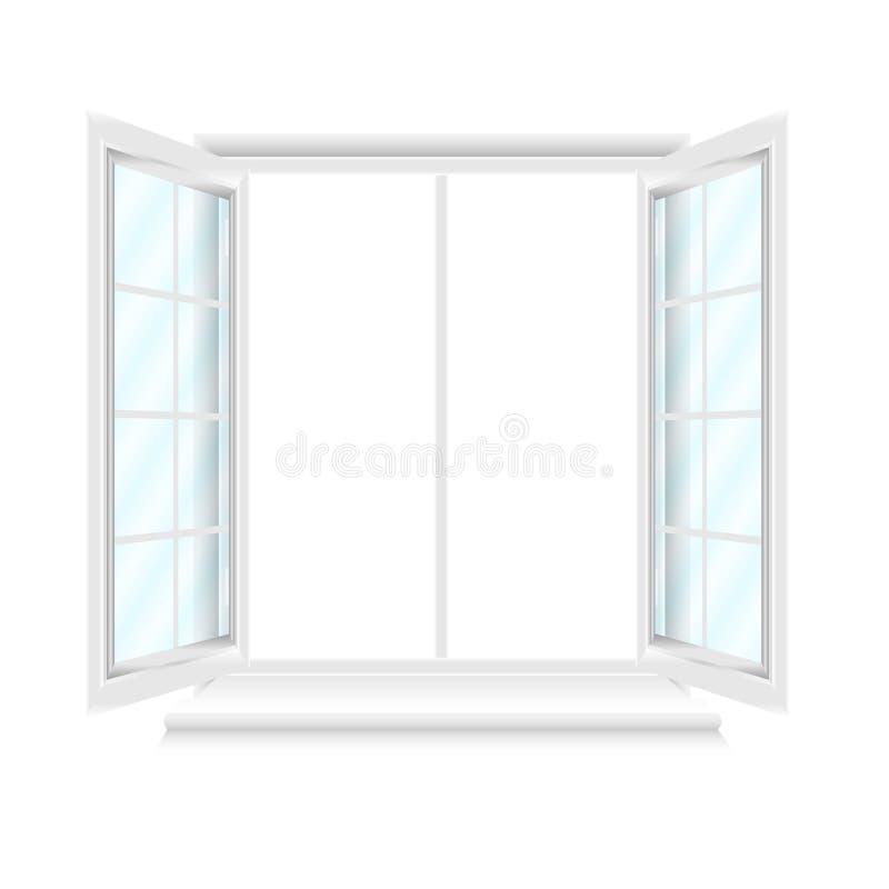 Geöffnetes weißes Fenster mit blauen Gläsern auf weißem Hintergrund lizenzfreie abbildung