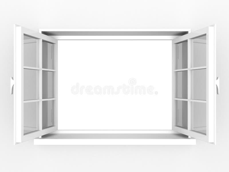 Geöffnetes weißes Plastikfenster lizenzfreie abbildung
