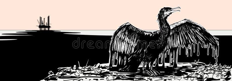 Geölter Kormoran stock abbildung