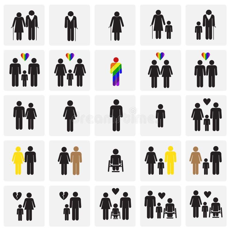Âge d'orientation de course de genre de personnes réglé sur le fond de places illustration libre de droits