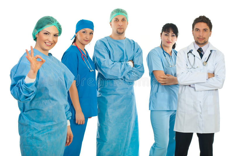 ge den ok teckenkirurgkvinnan arkivbilder