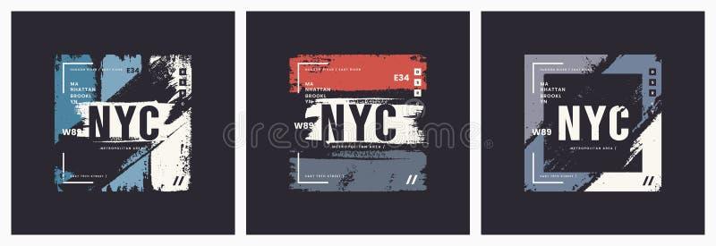 Ge för abstrakt begrepp för vektor för stil för New York City t-skjorta och dräktborste stock illustrationer