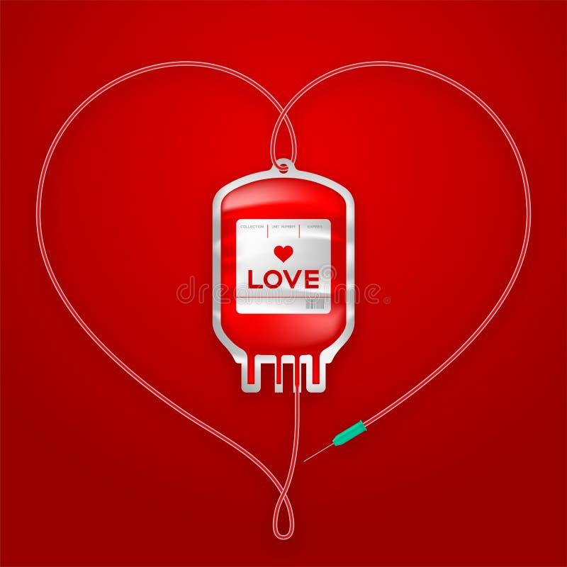 Ge första erfarenhet röd färg för påsen och älska form för hjärtateckenramen som göras från kabelillustration stock illustrationer
