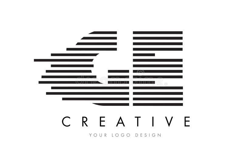 GE G E Zebra Letter Logo Design with Black and White Stripes vector illustration