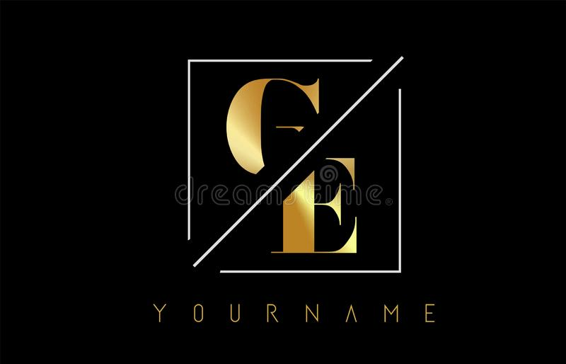 GE Golden Letter Logo with Cutted and Intersected Design. And Square Frame Vector Illustration royalty free illustration