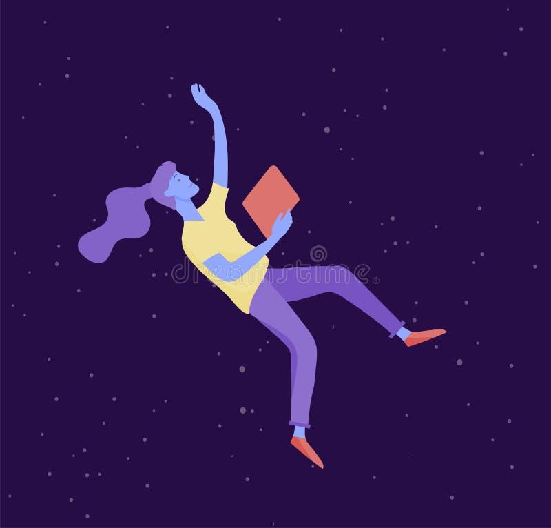 Ge?nspireerde vrouw die in ruimte vliegen Karakter die en zich in dromen, verbeelding en inspiratie bewegen drijven Vlakke ontwer stock illustratie
