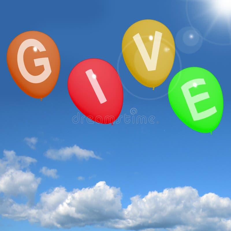 Ge ordet på ballonger som visar välgörenhetdonationer och den generösa röven royaltyfri illustrationer